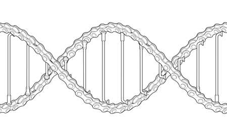 Bicycle chains with spokes twisted like a DNA spiral. Replicable outline tattoo design. 3d illustration isolated on white background..