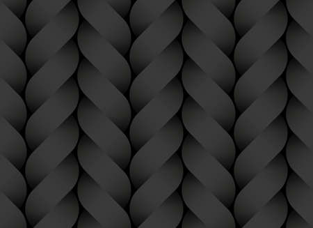 Black seamless decorative pattern of braided paper bands twisted in the form of a pigtail. Vector dark texture repeating geometric background illustration.