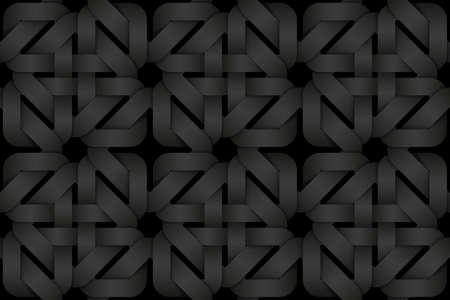 Black seamless decorative pattern of weaved square shaped bands. Vector dark texture repeating geometric background illustration. Illusztráció