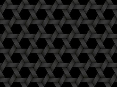 Black seamless decorative pattern of bands weaved in the shape of a six pointed star. Vector dark texture repeating geometric background illustration.