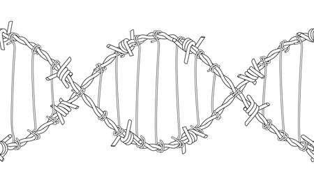 Barbed wires twisted and tied like a DNA spiral. Symbol of criminal lifestyle. Replicable tattoo design. 3d illustration isolated on white background..