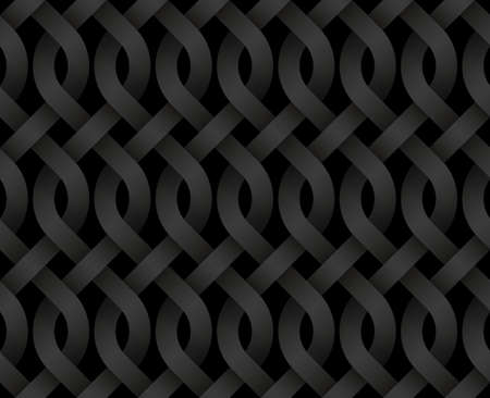 Vector seamless decorative pattern of bands braided in the form of curls. Repeating White geometric texture illustration.