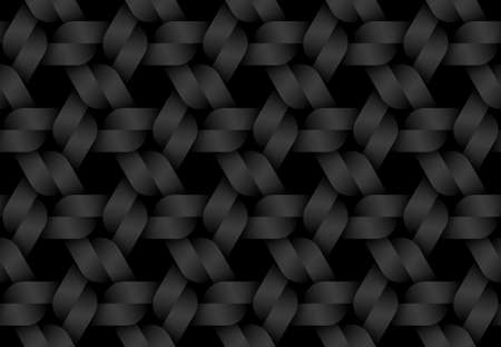 Black seamless decorative pattern of woven triangular shaped bands. Vector dark texture repeating geometric background illustration.