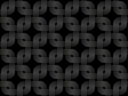 Black seamless decorative pattern of wicker square shaped bands. Vector dark texture repeating geometric background illustration. Illusztráció