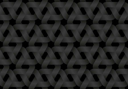 Black seamless decorative pattern of woven hexagonal shaped bands. Vector dark texture repeating geometric background illustration.