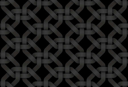 Black seamless decorative pattern of woven octagonal shaped bands. Vector dark texture repeating geometric background illustration. Illusztráció