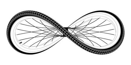 Sport bicycle wheel curved like Infinity sign. Symbol of a cycling lifestyle with editable outlines. Vector tattoo illustration isolated on white background..