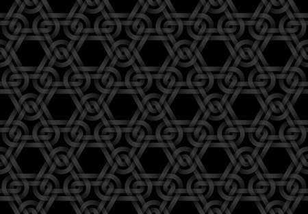 Vector seamless decorative pattern of woven triangular shaped double bands. White repeating geometric background illustration.Black seamless decorative pattern of woven triangular shaped double bands. Vector dark texture repeating geometric background illustration.