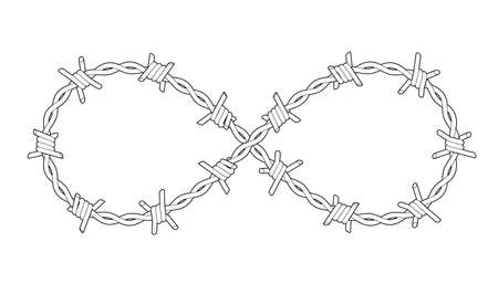 Barbed wires twisted like Infinity sign. Symbol of criminal lifestyle. Outline tattoo illustration isolated on white background.