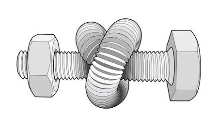 Bolt with nut bent into a knot. Twisted hex head screw. Vector illustration with editable outlines isolated on white background.