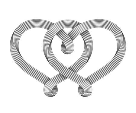 The sign of the union of two hearts made of interwoven silver wire bundles. Symbol of eternal love. 3d illustration isolated on a white background.