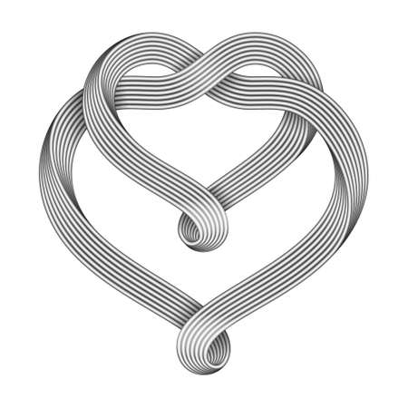 The sign of the union of two hearts made of intertwined metal wire bundles. Symbol of infinite love. 3d illustration isolated on a white background.