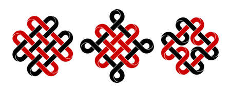 Set of celtic, chinese auspicious knots and quadruple Solomon knot made of intertwined mobius stripes. Stylized ancient traditional symbols for tattoo design. Vector illustration isolated on white background.