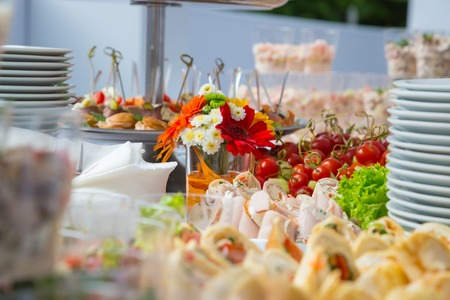 Buffet table corporate. table appointments for corporate Stock Photo
