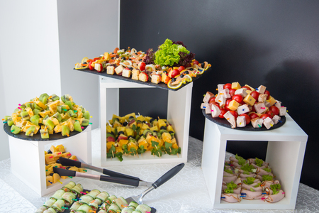Corporate table. Catering food. Buffet table Stock Photo
