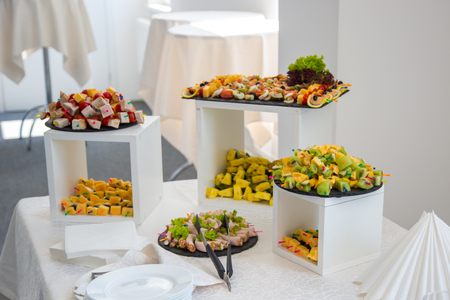 Corporate table. Catering food. Buffet table Zdjęcie Seryjne