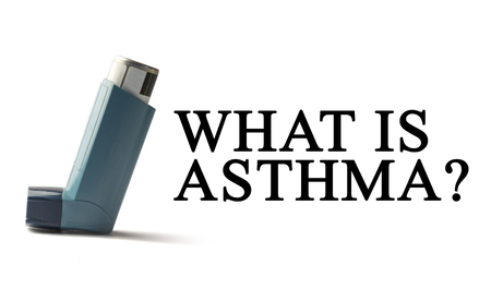 inhaled: Inhaler on a white background with the words Asthma. Treatment of respiratory diseases. World Asthma day. Stock Photo