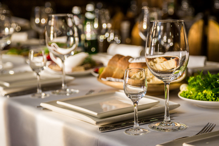 formal dinner party: Serving banquet table
