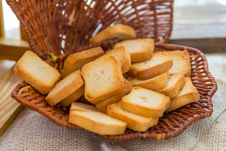 Baked small slices of bread in a basket