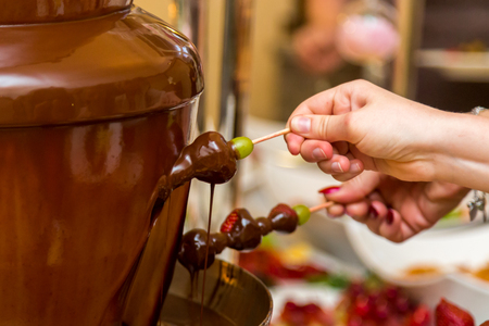 Chocolate grapes on a stick Buffet Catering Archivio Fotografico