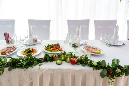 Serving banquet table