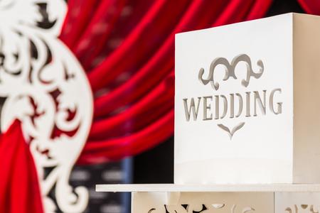 Wedding card with a wedding inscription for wedding greetings and gifts Zdjęcie Seryjne