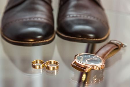 Grooms clothing accessories closeup photo Stock Photo