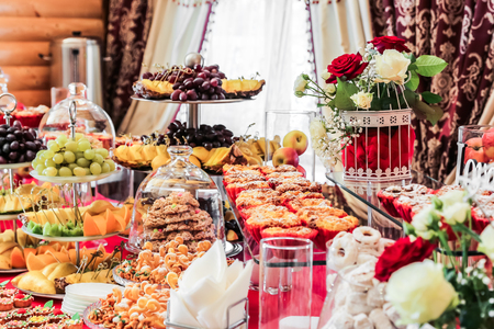 Sweet table. Catering food Buffet table