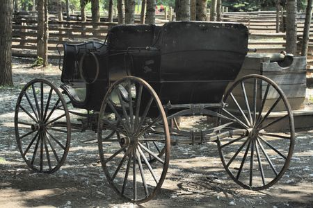 horse drawn carriage: Old Black Horse Drawn Carriage