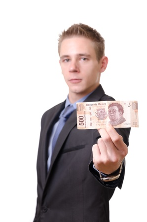 pesos: Young businessman proudly showing a 500 pesos note