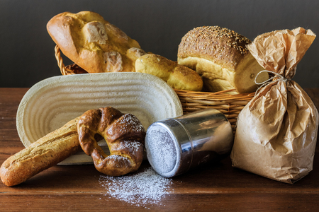 bakery products on wooden table and gray background Stock Photo