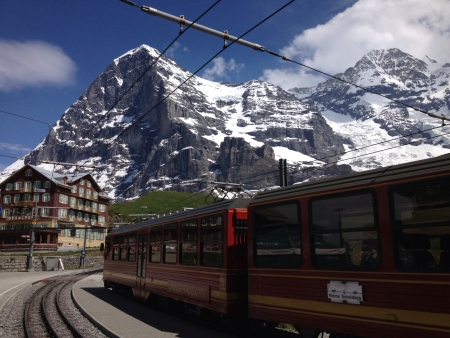 jungfraujoch: The beautiful view of Jungfraujoch Top of Europe from Grindelwald station in summer.