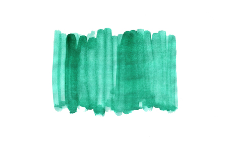 Abstract watercolor hand drawn background. Isolated spot on white paper. Template design. Green gradient vertical strips. Banco de Imagens