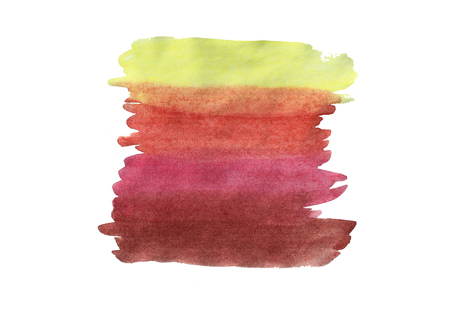 Abstract watercolor hand drawn background. Isolated spot on white paper. Template design. Different color vertical strips. Stok Fotoğraf - 85634871
