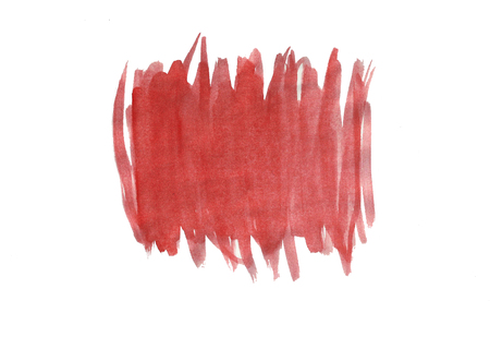 Abstract watercolor hand drawn background. Isolated spot on white paper. Template design. Red gradient vertical strips.