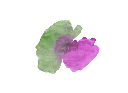 Abstract watercolor gradient hand drawn background. Template design. purple and green drips are on a white paper. Design art element for banner, print, template, cover, decoration for web. Stock Photo