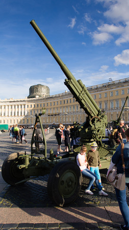 Saint-Petersburg. Russian Federation. 9 August 2017. The background is the Palace square in Day of memory and grief. An antiaircraft gun 85 mm. USSR weapon of world war 2.