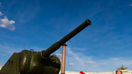 Saint-Petersburg. Russian Federation. 9 August 2017. The background is the Palace square in Day of memory and grief. The T-34 is a Soviet medium tank . A part of tank watches to the sky.
