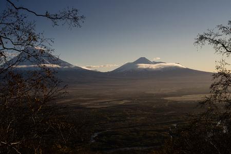 Avachinsky and Koryaksky sopka. Autumn 2017 in Kamchatka Russia. Early morning view from sopka. Stok Fotoğraf
