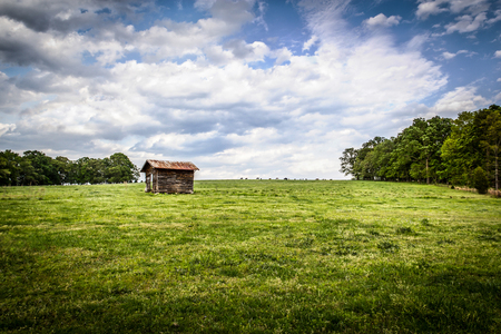 shack: A beautiful countryside landscape of a cow pasture and a lone shack on a hill.