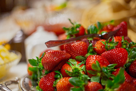 Catered wedding reception with strawberries, chocolate, punch, fruit, nuts, cheese 9 Фото со стока