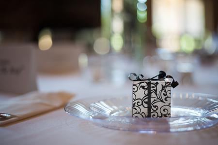 Wedding reception place setting detail Фото со стока