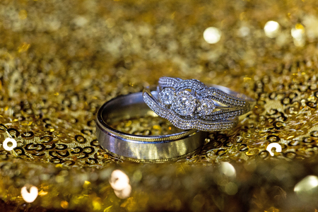 Wedding rings stacked on beautiful background 5