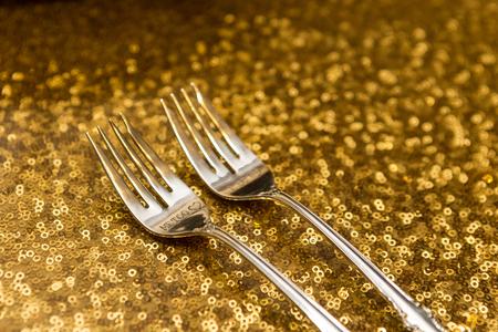 Wedding reception forks for bride and groom