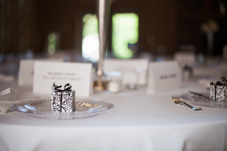 favor: Wedding reception place setting detail 2 Stock Photo