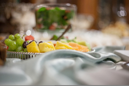 Catered wedding reception with strawberries, chocolate, punch, fruit, nuts, cheese 5