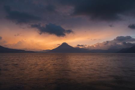 Sunset behind Volcan San Pedro on Lake Atitlan.jpg