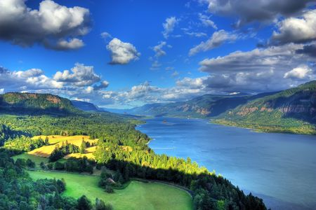 columbia river gorge located about 5 miles east of washougal on the Cape look out.  with beacon rock in the background shot from the washington side Stock Photo