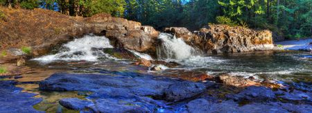 battleground: panoramic shot of Lucia Falls located on the Lewis river north of Battleground Washington Stock Photo