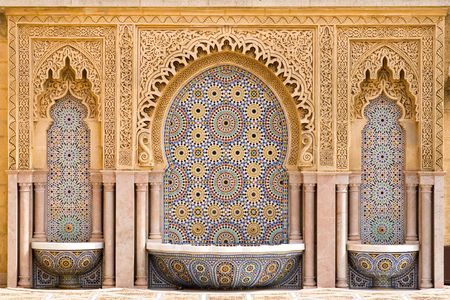 morocco: Typical moroccan tiled fountain in the city of Rabat, near the Hassan Tower